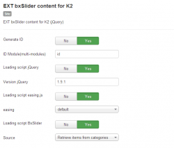 EXT bxSlider content for K2 module